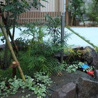 アクセントにゴロタ石で植栽スペースを作りました。